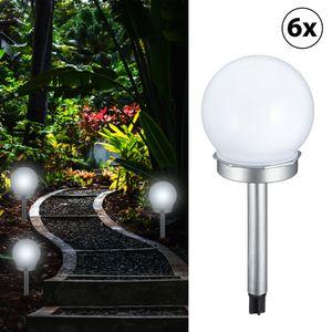 6er Set Solar LED Leuchte Kugel - silber - H 25cm Kugel Ø 10 cm - Gartenleuchte