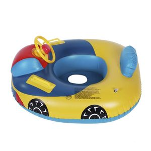 Baby Pool Float Kleinkinder Schwimmen Float Aufblasbare Schwimmring Boot Cute Cartoon Car Float Mit Lenkrad