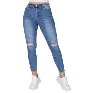 Giralin Damen Jeans Skinny Fit Cut-Outs Fransen Denim Hose 837394 Blau 42 / XL