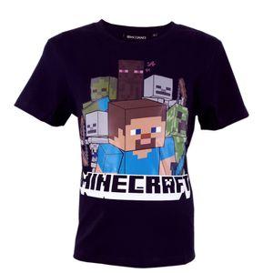 Minecraft Kurzarm T-Shirt Baumwolle - Größe Schwarz 140