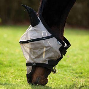 Horseware Rambo Plus Fly Mask Untreated - Oatmeal/Burgundy/Black, Größe:L