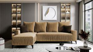 Mirjan24 Ecksofa Carino, Eckcouch mit Schlaffunktion und Bettkasten, L-Form Sofa vom Hersteller (Magic Velvet 2206 + Magic Velvet 2205)