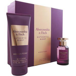 Abercrombie & Fitch Authentic Night Woman Set 50 ml EDP & 200 ml Bodylotion NEU