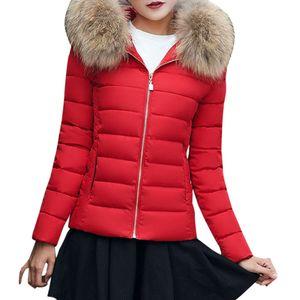 Mode Solid Women Casual Dicker Winter Slim Coat Mantel Größe:XXXXL,Farbe:Rot