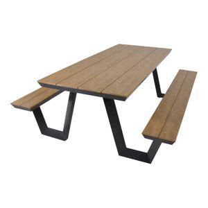 Picknick-Set Bank mit Tisch Gartenbank rechteckig 200cm Aluminium Polywood