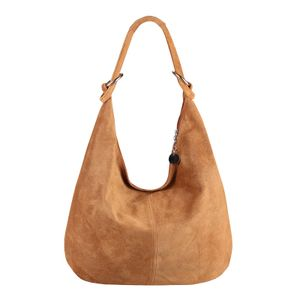 ITAL DAMEN WILDLEDER TASCHE Shopper Ledertasche Schultertasche Handtasche Umhängetasche Hobo-Bag Cognac