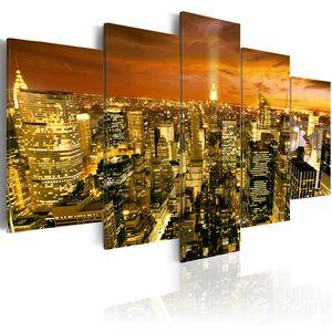 Modernes Wandbild d-B-0013-b-o (200x100 cm) - 5 Teilig Bilder Fotografie auf Vlies Leinwand Foto Bild Dekoration Wand Bilder Kunstdruck NEW YORK CITY NYC STADT BEI NACHT