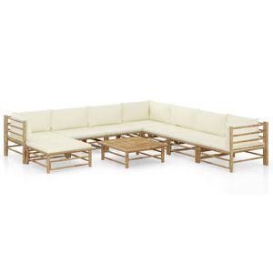 Hochwertigen Garten Sitzgruppe Gartengarnitur - 9-teiliges Garten-Lounge-Set - Gartengarnitur Set mit Cremeweißen Kissen Bambus☆4922