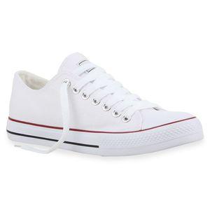 Mytrendshoe Herren Sneakers Sportschuhe Stoffschuhe Schnürer 94238, Farbe: Weiß Rotstreifen Lucky, Größe: 42