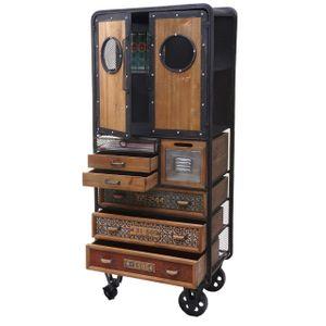 Apotheker-Schrank MCW-D78, Kommode Rollwagen Metallregal, Tanne Holz Vintage Shabby-Look 146x60x35cm