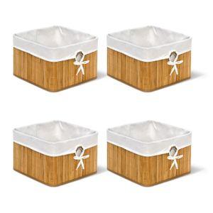 relaxdays 4er Set Aufbewahrungskorb Ordnungsbox Regalkorb Faltbox Bambus Schrankkorb