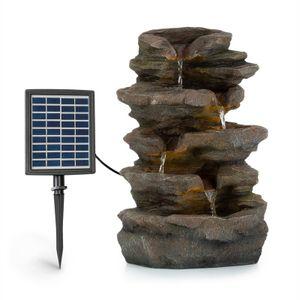 Blumfeldt Stonehenge Solarbrunnen ,inkl. Solarpanel ,Lithium-Ionen-Akku (ca. 5h Laufzeit) ,LED-Beleuchtung ,Polyresin, frostbeständig ,für drinnen und draußen ,Steinoptik