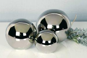 Casablanca 3tlg. Set Dekokugel Silverball aus Keramik silber 76727