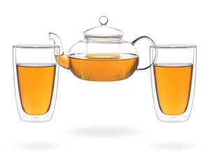 Melina Teeset / Teeservice / Teekanne Glas 1,3 liter mit Sieb und 2 doppelwandige Teegläser je 360ml