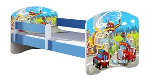 ACMA Jugendbett Kinderbett Junior-Bett Komplett-Set mit Matratze Lattenrost und Rausfallschutz Blau 36 Feuerwehr 140x70