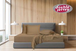 Double Jersey - Spannbettlaken 100% Baumwolle Jersey-Stretch, Ultra Weich und Bügelfrei,160x200+38 Cappuccino