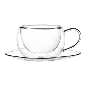 6x Kadum Thermogläser mit Henkel und Unterteller Doppelwandige Gläser Teetasse Cappuccino Latte Machhiato 270 ml