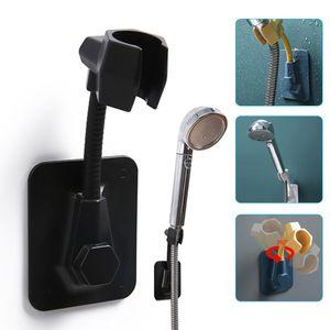 Duschkopfhalterung, Verstellbare Brausehalter Ohne Bohren universelle Duschständer Duschhalterung Sprinklerbasis für Badezimmer Beschädigt die Wand nicht(Schwarz)