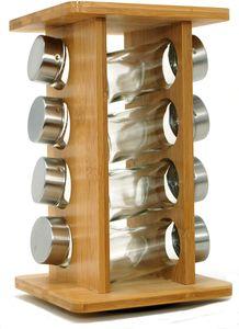 Ernesto Gewürzkarussell aus Bambus, 9-teilig Gewürzregal Gewürzständer für 8 Streuer aus Glas