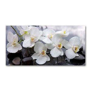 Tulup Acrylglas - Wandkunst - 100 x50 cm -  Bild auf Plexiglas® Dekorative Wand für Küche & Wohnzimmer  - Blumen & Pflanzen - Orchidee - Weiß