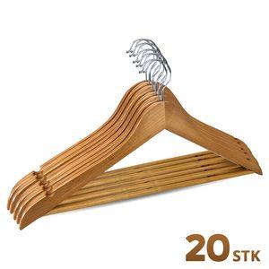 Kleiderbügel aus Holz mit Steg im 20er Pack