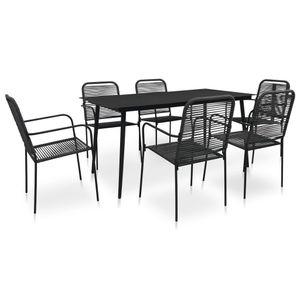 Gartenmöbel Essgruppe 6 Personen ,7-TLG. Terrassenmöbel Balkonset Sitzgruppe: Tisch mit 6 Stühle, Baumwollseil und Stahl Schwarz ❀4765