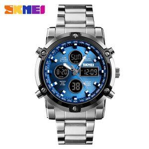 SKMEI Moment Beauty 1389 Herren Uhrwerk mit zwei Uhrwerken Japanisches Uhrwerk Outdoor Sport Stahluhr leuchtender Wecker【Silver Shell Blue Noodle】