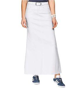 ARIZONA Jeans-Rock angesagter Damen Maxi-Rock mit Used-Effekten Kurzgröße Weiß, Größe:36 (18 Kurzgröße)