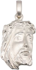 Anhänger Jesuskopf Jesus Gott Gottes Sohn Christus 46 x 22 mm Silber 925