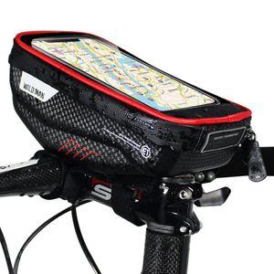 Fahrradtaschen mit Touchscreen Handyhalter Fall wasserdicht Fahrrad Frontrahmen Oberrohrmontage Lenkertaschen Fahrrad Aufbewahrungstasche Radfahren Pack【Rot】