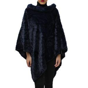 Glamexx24 Damen Rundhals Elegante Winter Poncho, Blau, 15091a2