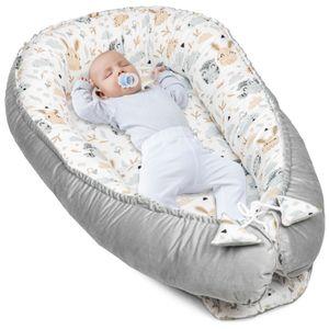Babynest Kokon Neugeborene 90x50 Handmade Babynestchen Kuschelnest Baby Nest Nestchen Babybett Liegekissen Hellgrau Velvet und Baumwolle mit Eulen und Hasen