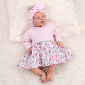 Baby Sweets Mädchen Set Kleid und Haarband grau rosa Little Cupcake 0-3 Monate (62)
