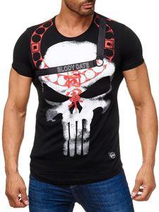 Herren T-Shirt Kurzarm Skull Print Shirt Totenkopf H2040, Farben:Schwarz, Größe T-Shirt:S
