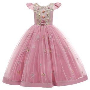 Mädchen Brautjungfer Kleider Blumenmädchen Hochzeitskleid Kommunionskleid Maxi Lange Prinzessinkleid Partykleid Geburtstagstag Abendkleid, Rosa#, 120cm
