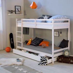 Homestyle4u 1432, Hochbett Etagenbett für Kinder mit Bettkasten, 90x200 cm, Weiß