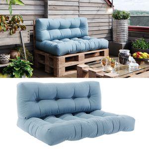 Vicco Palettenkissen Set Sitzkissen + Rückenkissen 15cm hoch Palettenmöbel Flocke eisblau