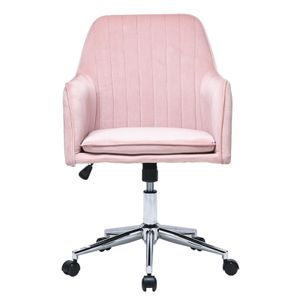 Bürostuhl, Schreibtischstuhl mit Armlehne und niedriger Rückenlehne, Drehstuhl höhenverstellbar, Sitzbezug aus Flanell, Rosa