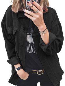 Damen Button Up Cordjacke Mantel Damen Einfarbig Langarmshirts,Farbe: Schwarz,Größe:S