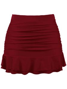Frauen Hohe Taille Bad Shorts Rock Rüschen Bikini Bottom Brief Beach Shorts Kleid,Farbe:Rot,Größe:M