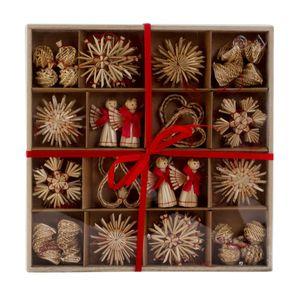 48-teilig Stroh Box Weihnachtsanhänger Sterne Engel Herz