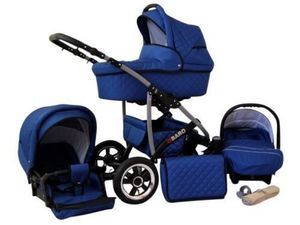 Kinderwagen Qbaro, 3 in 1- Set Wanne Buggy Babyschale Autositz mit Zubehör Saphir