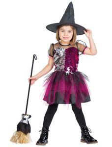 Kostüm Kleid Hexe Glitzer Kinder Größe: 116