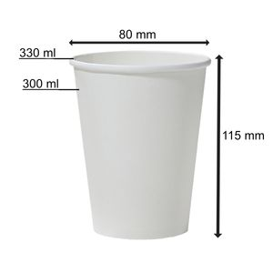50 Pappbecher weiß 300 ml Trinkbecher 0,3 l