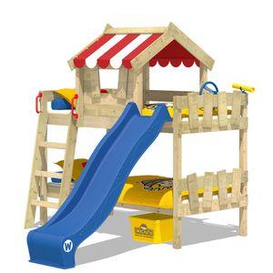 WICKEY Kinderbett Hochbett CrAzY Circus mit blauer Rutsche Hausbett 90 x 200 cm, Etagenbett