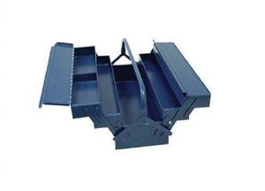 PROMAT Werkzeugkasten 5tlg. 430x200x200mm Stahlblech blau Griff umlegbar