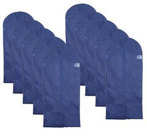 VonBueren Kleiderschutzhüllen 10er Set blauer Kleidersack mit Sichtfenster & Reißverschluss | Kleiderhülle Anzughülle Anzugsack (ca.62 x 135 cm) | Aufbewahrung für Mäntel Jacken Ballkleider Anzug