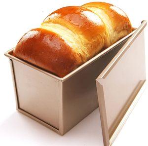 Für 450g Teig Toast Brot Backform Gebäck Kuchen Brotbackform Mold Backform mit Deckel(Gold-Rechteck-Glatt)