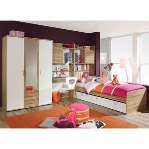 Kinder- und Jugendzimmer Naomi 4-teilig Weiß / Eiche Sonoma B 317 cm inkl Kleiderschrank + Kinder- und Jugendbett + Schreibtisch + Regal + Bettkasten Jugendzimmer