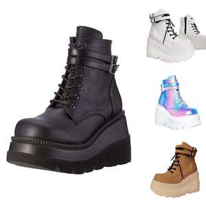 Damen Bunte lässige Schuhe mit dicken Sohlen und niedriger Schnalle,Farbe: Schwarz,Größe:40